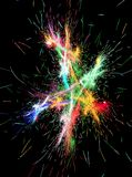 Firework Star Colors. Firework sparks star colors abstract, dark background, vertical stock illustration