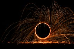 Firework spinning on the ground royalty free stock photography