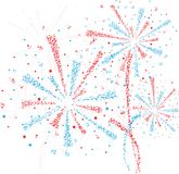 Firework star. Big red and blue fireworks on white background Stock Images