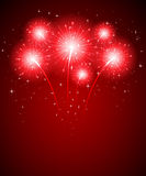 Firework and stars. Shiny firework and stars on red background, illustration Royalty Free Stock Photography