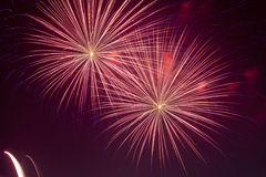 Firework streaks in the night sky Royalty Free Stock Image