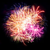 Firework streaks in night sky, celebration Royalty Free Stock Photos