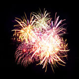 Firework streaks in night sky, celebration Royalty Free Stock Image