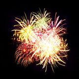Firework streaks in night sky, celebration Stock Photos