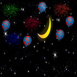 Firework streaks in night sky. Fireworksstreaks in night sky with moon stars and balloons Stock Photo