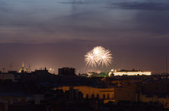 Firework. Sudden fireworks over the city of St. Petersburg Royalty Free Stock Photography