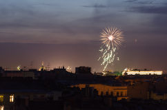 Firework. Sudden fireworks over the city of St. Petersburg Royalty Free Stock Image