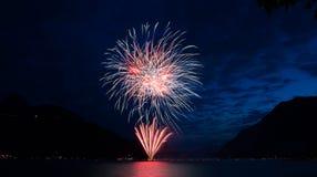 Firework on Swiss National Day in Brunnen Stock Photos