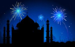 Firework in Taj Mahal. Illustration of Taj Mahal on firework in sky backdrop Stock Image