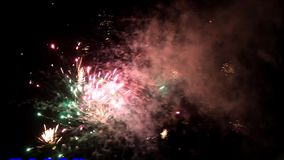 Firework with text and sound. Firework new year text and sound stock video footage