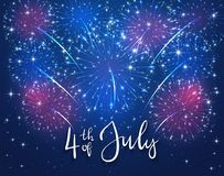 Firework and text 4th of July on blue background. Colorful starry fireworks on blue sky and text 4th of july. USA Independence day background, illustration Royalty Free Stock Photos