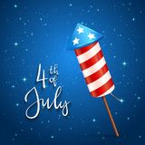 Firework and text 4th of July on blue background. Text 4th of July and firework rocket for Independence Day on blue starry background, illustration Stock Photography