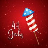 Firework and text 4th of July. Text 4th of July and firework rocket for Independence Day on red starry background, illustration Stock Images