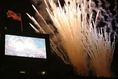 Firework at USTA Billie Jean King National Tennis Center during US Open 2013 opening night ceremony Stock Photography