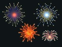 Firework vector illustration celebration holiday event night explosion light festive party. Firework vector icon isolated illustration celebration holiday event Stock Image