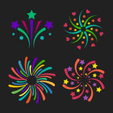 Firework vector icon isolated illustration celebration holiday event night new year fire festival explosion light. Festive party fun birthday bright Royalty Free Stock Photography