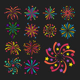 Firework vector icon isolated illustration celebration holiday event night new year fire festival explosion light. Festive party fun birthday bright Royalty Free Stock Photos