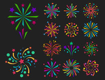 Firework vector icon isolated illustration celebration holiday event night new year fire festival explosion light. Festive party fun birthday bright Royalty Free Stock Images
