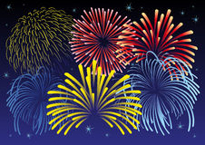 Firework vector illustration. Vector illustration of firework and stars. All  objects are isolated. Colors and transparent background color are easy to adjust Royalty Free Stock Images