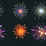Firework vector illustration celebration holiday event night explosion light festive party. Firework vector icon isolated illustration celebration holiday event Stock Images