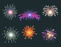 Firework vector illustration celebration holiday event night explosion light festive party. Firework vector icon isolated illustration celebration holiday event Royalty Free Stock Photography