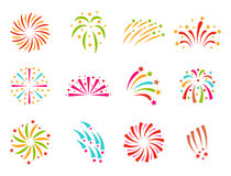 Firework vector illustration celebration holiday event night explosion light festive party Stock Photos