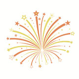 Firework vector illustration. Firework with red and yellow stars, star burst, holiday explosion - vector illustration Royalty Free Stock Photo