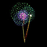 Firework- vector isolated on black background. Vector Firework Salute- vector isolated on black background Stock Photo