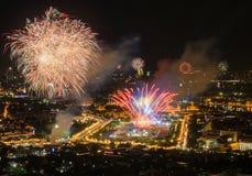 Firework on Wat Phra Kaeo (Thai royal palace) between King birth Royalty Free Stock Image