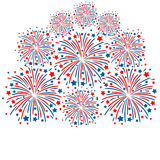 Firework white background. Red and blue fireworks isolated on white background Stock Photos