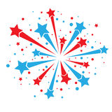 Firework on white. Big red and blue firework on white background. eps10 Stock Photos