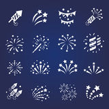 Firework white icon set with  burst. Petard, stars.  celebration and party vector Stock Photo