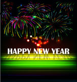 Firework and year 2015 made of colored neon effect Royalty Free Stock Photo