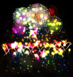 Firework and year 2015 made of colored neon effect Royalty Free Stock Photos