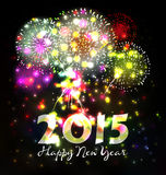 Firework and year 2015 made of colored neon effect Stock Photography