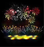 Firework and year 2015 made of colored neon effect. Year 2015 made of colored neon effect Stock Image