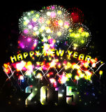 Firework and year 2015 made of colored neon effect Royalty Free Stock Images