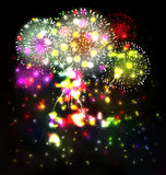 Firework and year 2015 made of colored neon effect Stock Photo