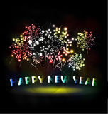 Firework and year 2015 made of colored neon effect. Year 2015 made of colored neon effect Royalty Free Stock Photography