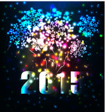 Firework and year 2015 made of colored neon effect Royalty Free Stock Image