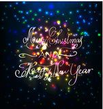 Firework and year 2015 made of colored neon effect Stock Photos