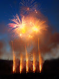 Fireworks. Display with multiple bursts Royalty Free Stock Photography