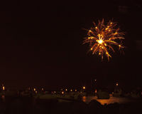 Fireworks. Picture of fireworks over a bay Royalty Free Stock Photography