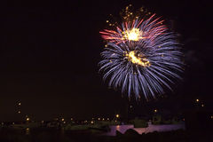 Fireworks. Picture of fireworks over a bay Royalty Free Stock Images