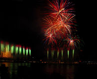 Fireworks. Overhead and from a bridge over the ohio river royalty free stock images