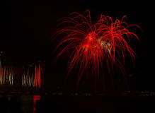 Fireworks. Over the ohio river, Louisville, Ky and from the bridge stock image