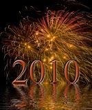 Fireworks. Beautiful fireworks fill the night time sky in 2010 Stock Photo