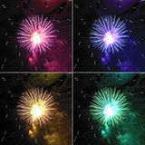 Fireworks. Collage of coloured fireworks or pirotechnics illuminations over dark black sky Stock Photo