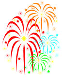 Fireworks. Designed graphic showing  fireworks  with colorful stars Stock Image