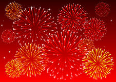 Fireworks. Abstract vector illustration of a red sky with fireworks Stock Photography